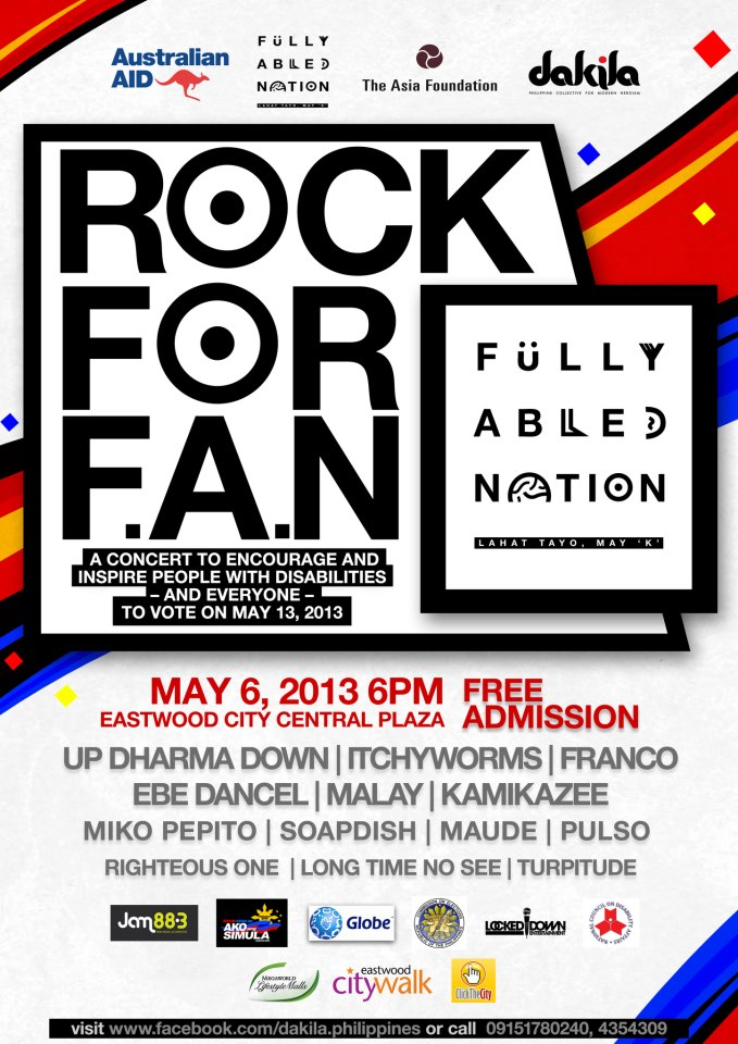 Rock for a Fully Abled Nation at Eastwood this May 6, 2013